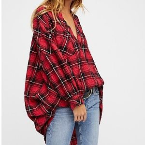 Free People Boyfriend Plaid Tunic